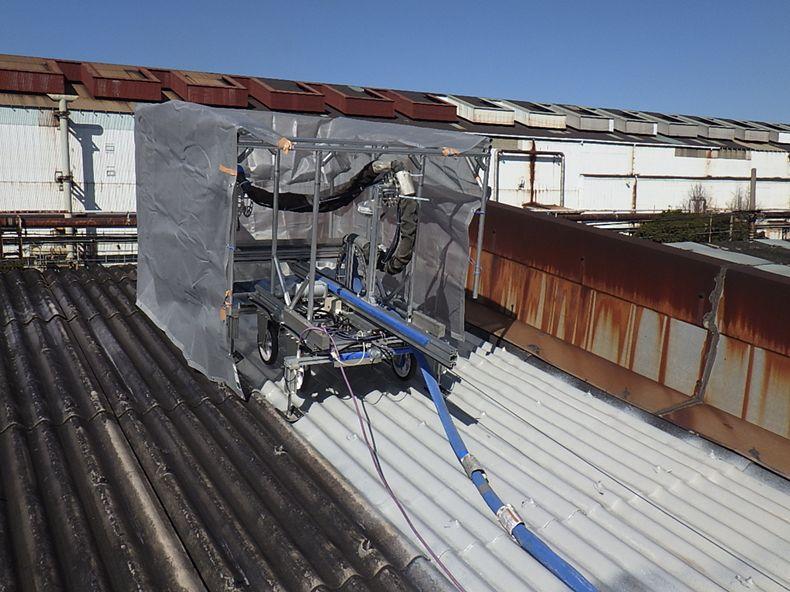スレート屋根の施工例   耐衝撃、超高速硬、防水、耐薬品の高性能ポリウレアコーティング材