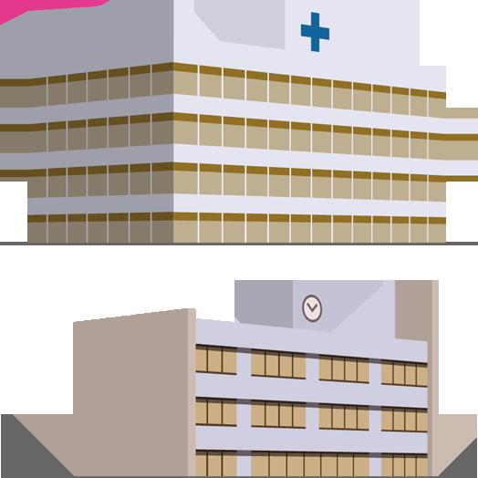 病院や学校、ホテルなど